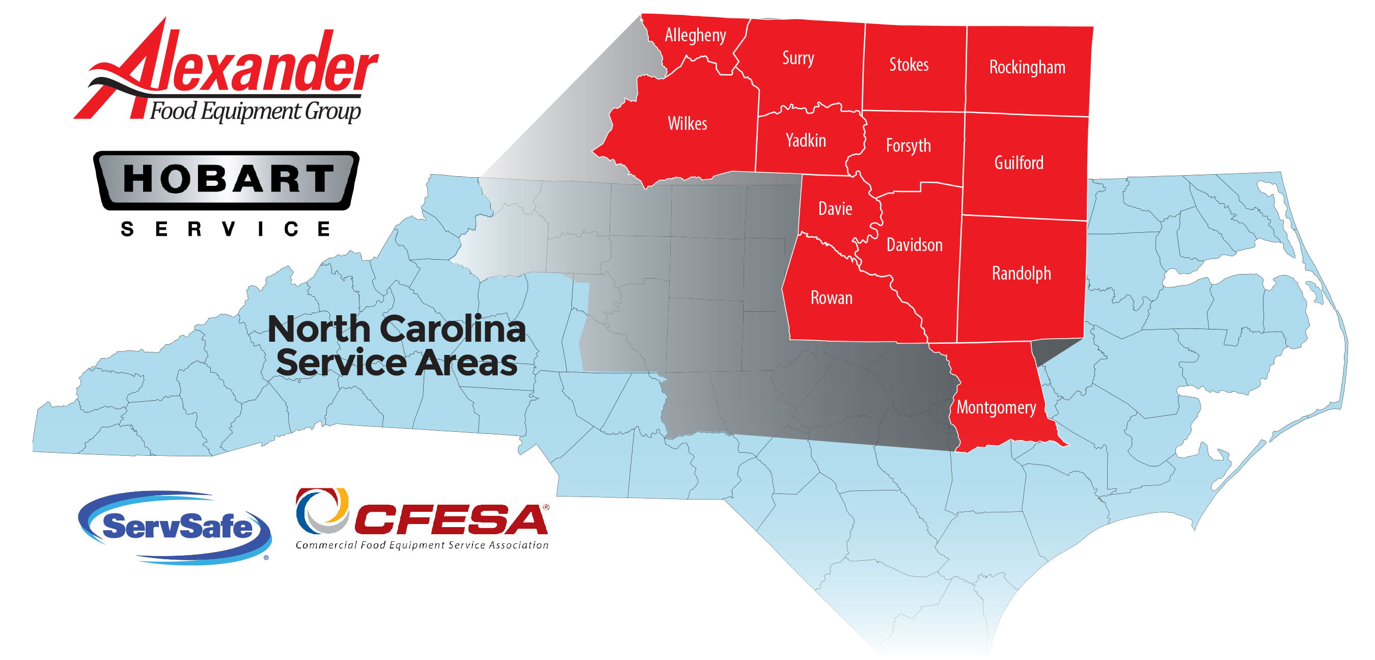 Alexander Food Equipment Group Service Area in The Piedmont Triad